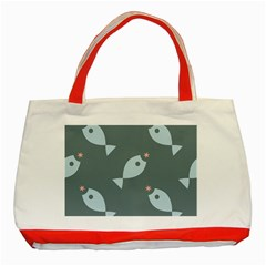 Fish Star Water Pattern Classic Tote Bag (red) by HermanTelo
