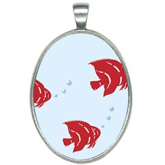 Fish Red Sea Water Swimming Oval Necklace by HermanTelo