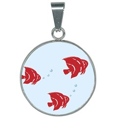Fish Red Sea Water Swimming 25mm Round Necklace by HermanTelo