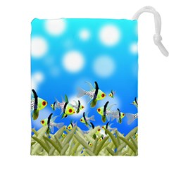 Fish Underwater Sea World Drawstring Pouch (xxl) by HermanTelo