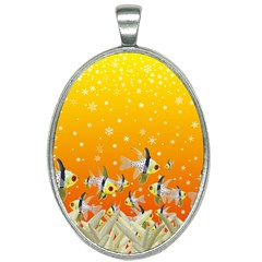 Fish Snow Coral Fairy Tale Oval Necklace by HermanTelo