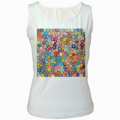 Floral Flowers Abstract Art Women s White Tank Top