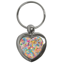 Floral Flowers Abstract Art Key Chain (heart) by HermanTelo
