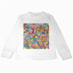 Floral Flowers Abstract Art Kids Long Sleeve T Shirts by HermanTelo