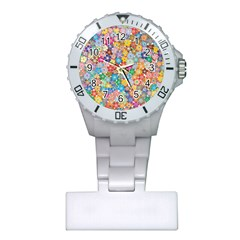 Floral Flowers Abstract Art Plastic Nurses Watch