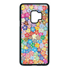Floral Flowers Abstract Art Samsung Galaxy S9 Seamless Case(black)