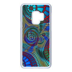 Fractal Abstract Line Wave Samsung Galaxy S9 Seamless Case(white)