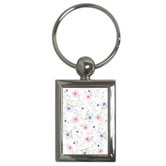 Floral Pink Blue Key Chain (rectangle) by HermanTelo