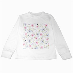 Floral Pink Blue Kids Long Sleeve T Shirts by HermanTelo