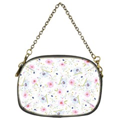 Floral Pink Blue Chain Purse (two Sides) by HermanTelo