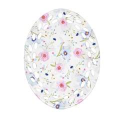 Floral Pink Blue Oval Filigree Ornament (two Sides)
