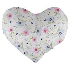 Floral Pink Blue Large 19  Premium Heart Shape Cushions