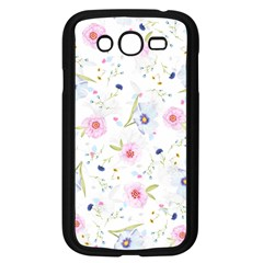 Floral Pink Blue Samsung Galaxy Grand Duos I9082 Case (black) by HermanTelo