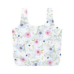 Floral Pink Blue Full Print Recycle Bag (m)