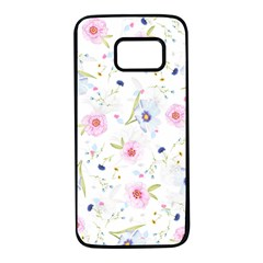 Floral Pink Blue Samsung Galaxy S7 Black Seamless Case by HermanTelo