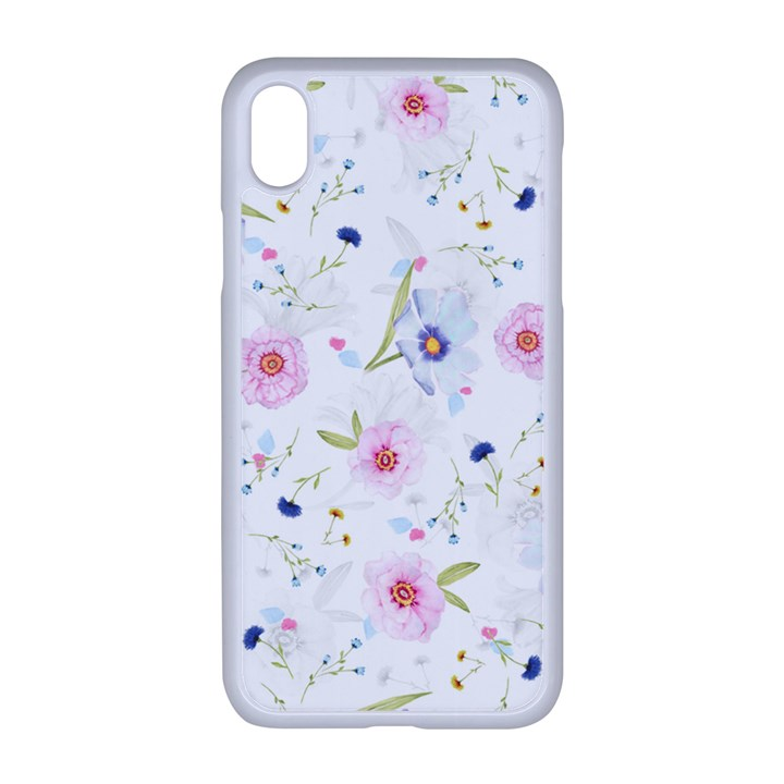 Floral Pink Blue iPhone XR Seamless Case (White)