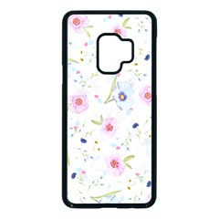 Floral Pink Blue Samsung Galaxy S9 Seamless Case(black)
