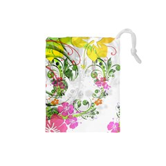 Flowers Floral Drawstring Pouch (small)