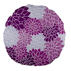 Floral Purple Large 18  Premium Round Cushions