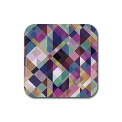 Geometric Blue Violet Pink Rubber Coaster (square)  by HermanTelo