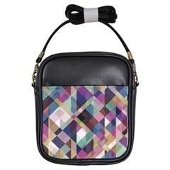 Geometric Blue Violet Pink Girls Sling Bag by HermanTelo