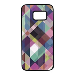 Geometric Blue Violet Pink Samsung Galaxy S7 Black Seamless Case by HermanTelo