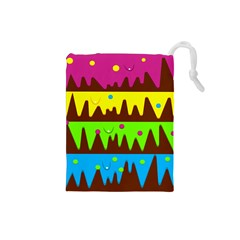 Illustration Abstract Graphic Rainbow Drawstring Pouch (small)
