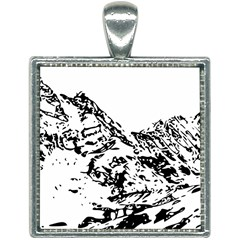 Mountain Ink Square Necklace by HermanTelo