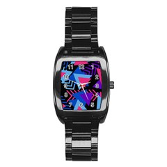Memphis Pattern Geometric Abstract Stainless Steel Barrel Watch by HermanTelo