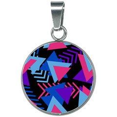 Memphis Pattern Geometric Abstract 20mm Round Necklace by HermanTelo