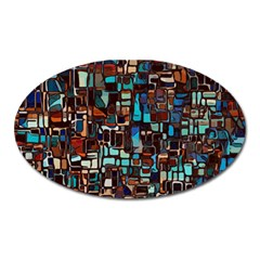 Mosaic Abstract Oval Magnet by HermanTelo