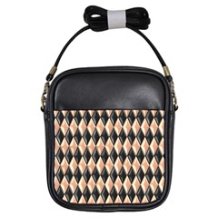 Metallic Diamond Design Black Girls Sling Bag by HermanTelo
