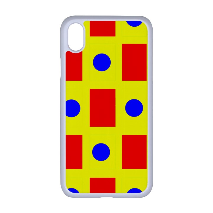 Pattern Circle Plaid iPhone XR Seamless Case (White)