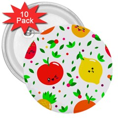 Pattern Fruits Orange Green 3  Buttons (10 Pack)  by HermanTelo