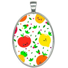 Pattern Fruits Orange Green Oval Necklace by HermanTelo