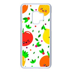 Pattern Fruits Orange Green Samsung Galaxy S9 Seamless Case(white)