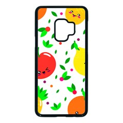 Pattern Fruits Orange Green Samsung Galaxy S9 Seamless Case(black)