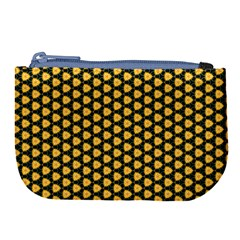 Pattern Halloween Pumpkin Color Yellow Large Coin Purse by HermanTelo