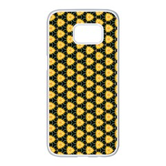 Pattern Halloween Pumpkin Color Yellow Samsung Galaxy S7 Edge White Seamless Case by HermanTelo