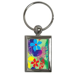 Pattern Leaf Polka Floral Key Chain (rectangle)