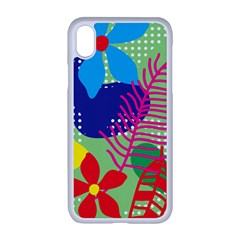 Pattern Leaf Polka Floral Iphone Xr Seamless Case (white)
