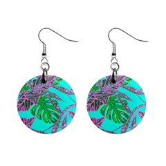 Painting Oil Leaves Nature Reason Mini Button Earrings