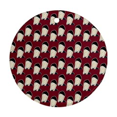 Beanie Boy Pattern Red Ornament (round) by snowwhitegirl