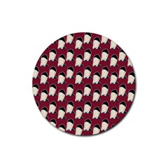 Beanie Boy Pattern Red Rubber Coaster (round)  by snowwhitegirl