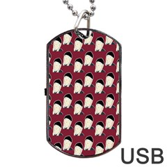 Beanie Boy Pattern Red Dog Tag Usb Flash (one Side) by snowwhitegirl