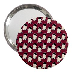 Beanie Boy Pattern Red 3  Handbag Mirrors by snowwhitegirl