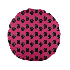 Girl Face Pink Standard 15  Premium Flano Round Cushions