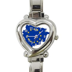 European Union Flag Map Of Andorra Heart Italian Charm Watch by abbeyz71