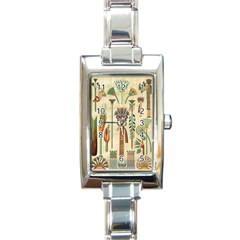 Egyptian Paper Papyrus Hieroglyphs Rectangle Italian Charm Watch by Sapixe