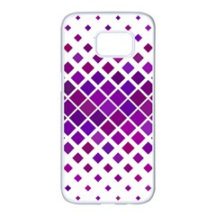 Pattern Square Purple Horizontal Samsung Galaxy S7 Edge White Seamless Case